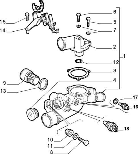 Alfa Romeo GTV/Spider/147 V6 Thermostat Body