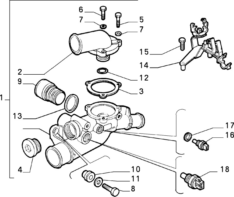 Alfa Romeo GTV/Spider V6 Thermostat Body