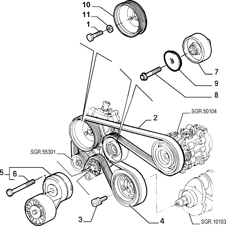 Alfa Romeo GTV/Spider Twinspark Auxiliary Belt