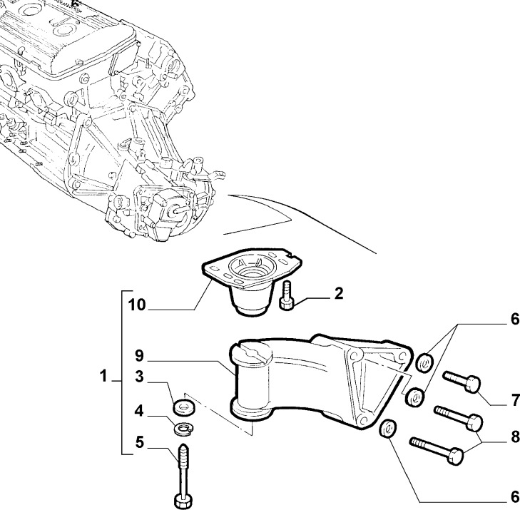 Alfa Romeo 147/156/GT V6 Left Hand Engine/Gearbox Mount