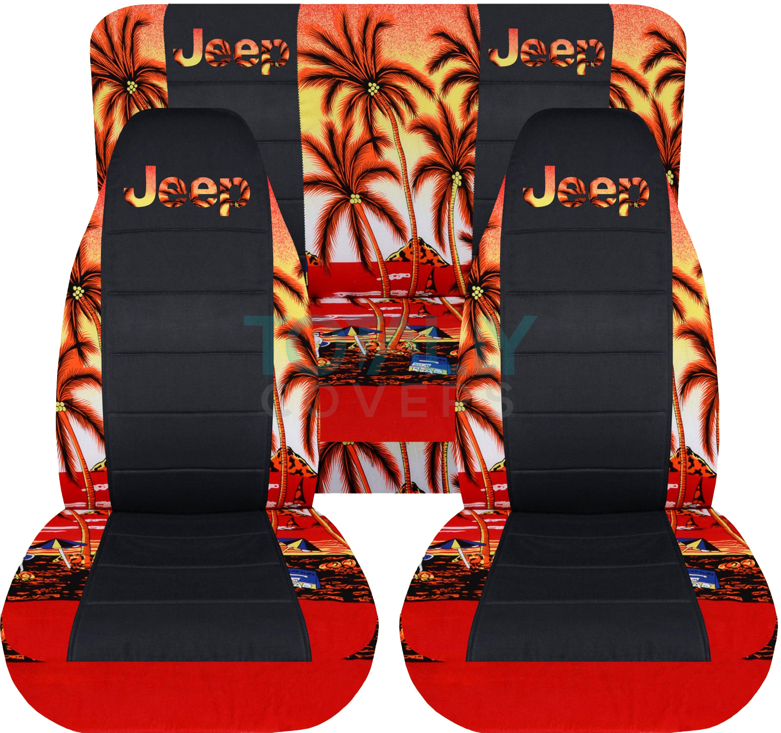 hawaiian chair covers original eames colors jeep wrangler red w palm tree and black seat