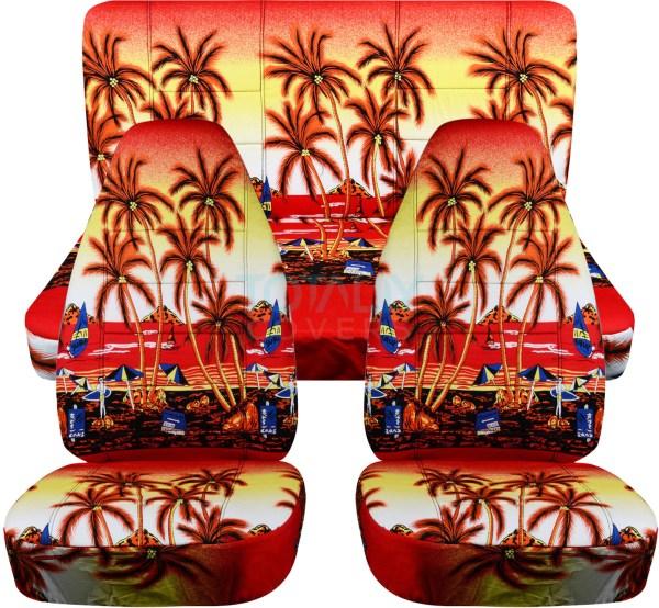 Hawaiian Print Car Seat Covers Full Set Semi-custom