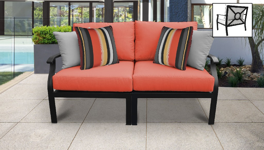 kathy ireland homes gardens madison ave 3 piece outdoor aluminum patio furniture set 03c in slate tk classics madison 03c grey