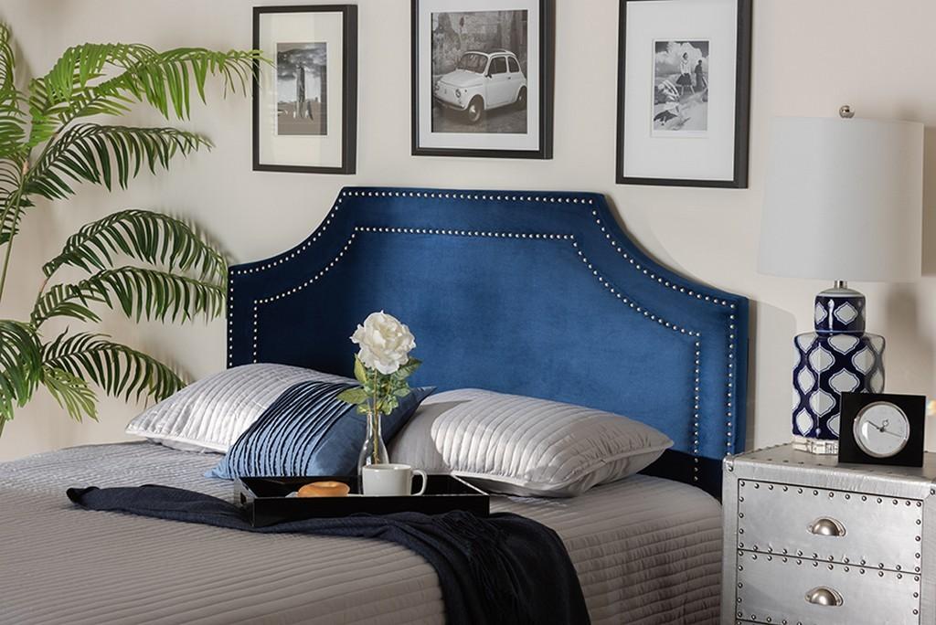 Baxton Studio Avignon Modern Contemporary Navy Blue Velvet Fabric Upholstered King Size Headboard Bbt6566 Navy Blue Hb King