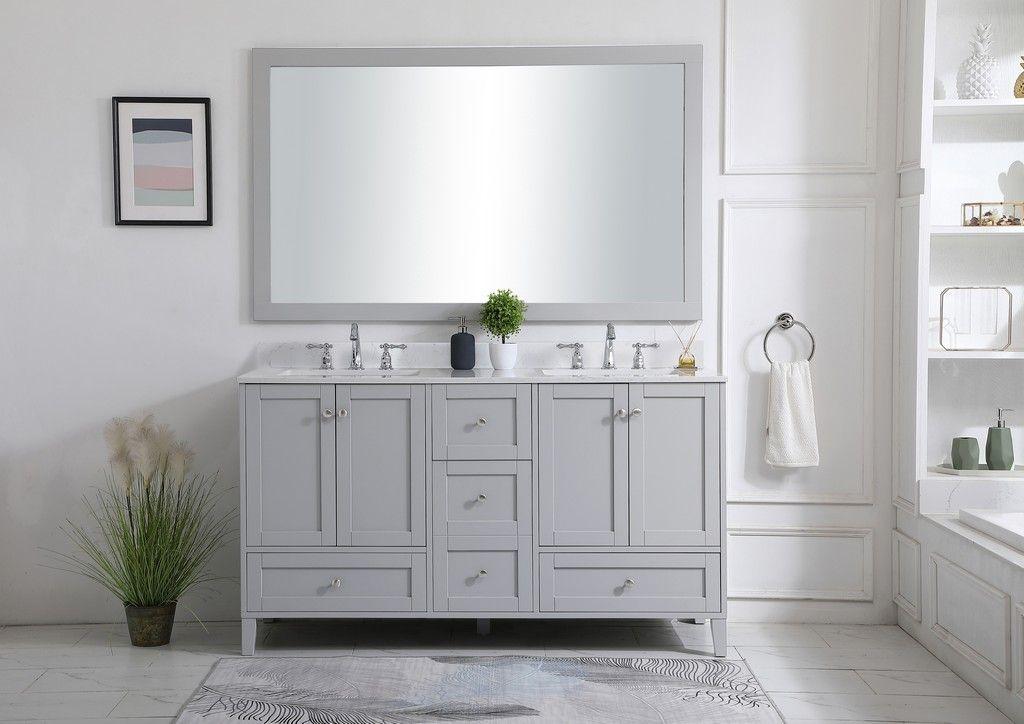 60 inch double bathroom vanity in grey with backsplash elegant lighting vf18060dgr bs