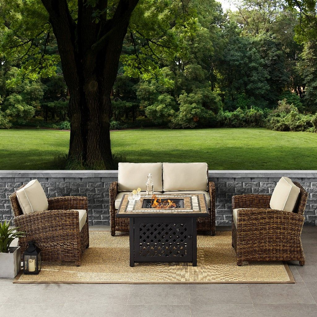 bradenton 4 piece outdoor wicker seating set with sand cushions loveseat two arm chairs fire table crosley ko70160 sa