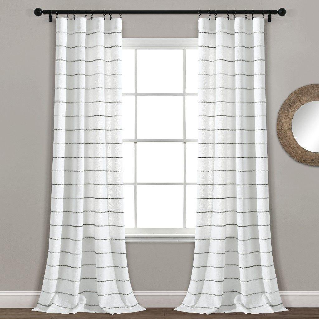 ombre stripe yarn dyed cotton window curtain panels gray multi 40x95 set lush decor 16t004552