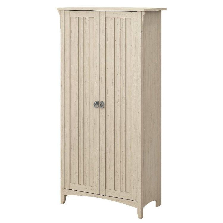 Bush Furniture Salinas Kitchen Pantry Cabinet W Doors In Antique White Bush Furniture Sal014aw