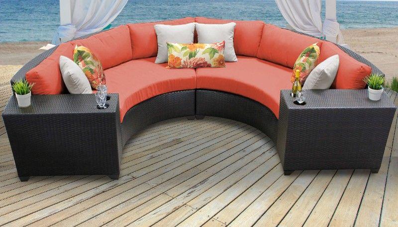 barbados 4 piece outdoor wicker patio furniture set 04c in tangerine tk classics barbados 04c tangerine