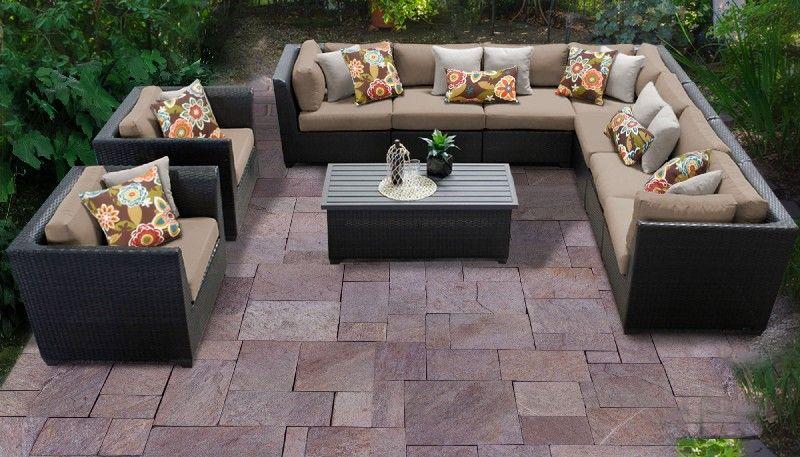 barbados 10 piece outdoor wicker patio furniture set 10a in wheat tk classics barbados 10a