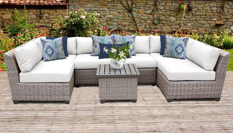 florence 7 piece outdoor wicker patio furniture set 07c in sail white tk classics florence 07c white