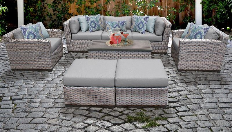 florence 8 piece outdoor wicker patio furniture set 08c in grey tk classics florence 08c