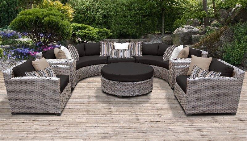 florence 8 piece outdoor wicker patio furniture set 08e in black tk classics florence 08e black