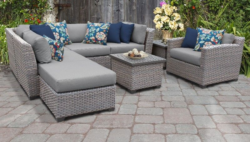 florence 8 piece outdoor wicker patio furniture set 08g in grey tk classics florence 08g