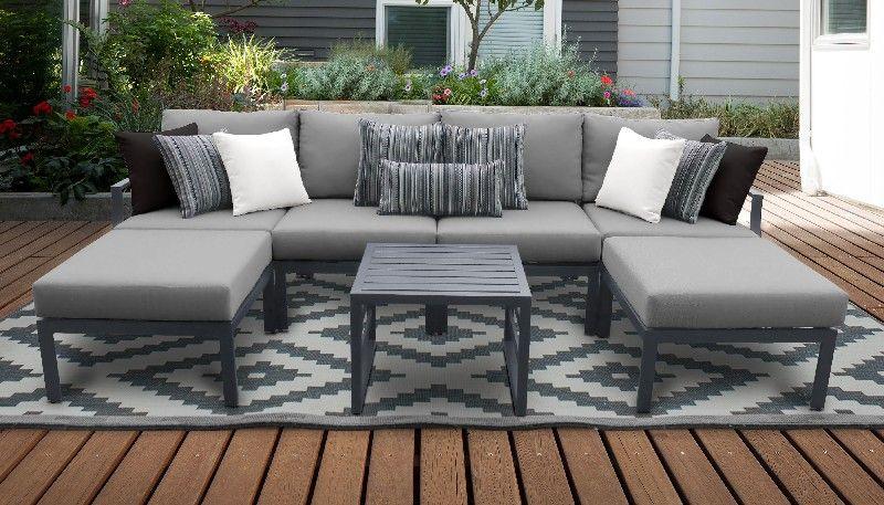 lexington 7 piece outdoor aluminum patio furniture set 07a in grey tk classics lexington 07a grey