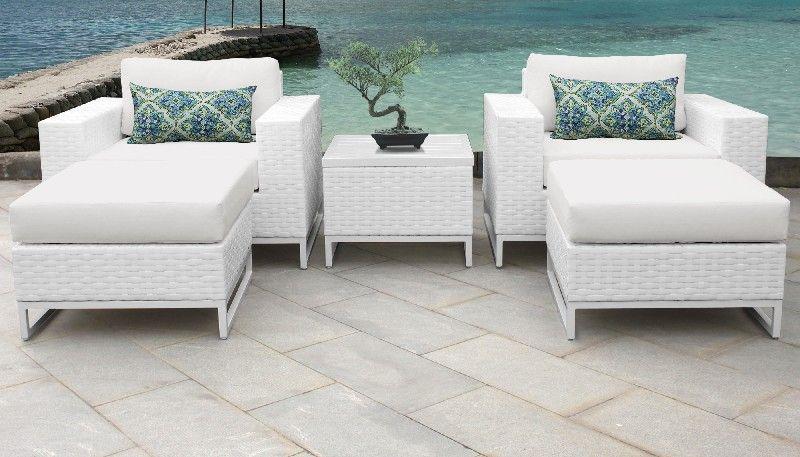 miami 5 piece outdoor wicker patio furniture set 05e in sail white tk classics miami 05e