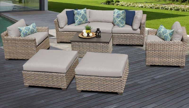 monterey 8 piece outdoor wicker patio furniture set 08a in beige tk classics monterey 08a