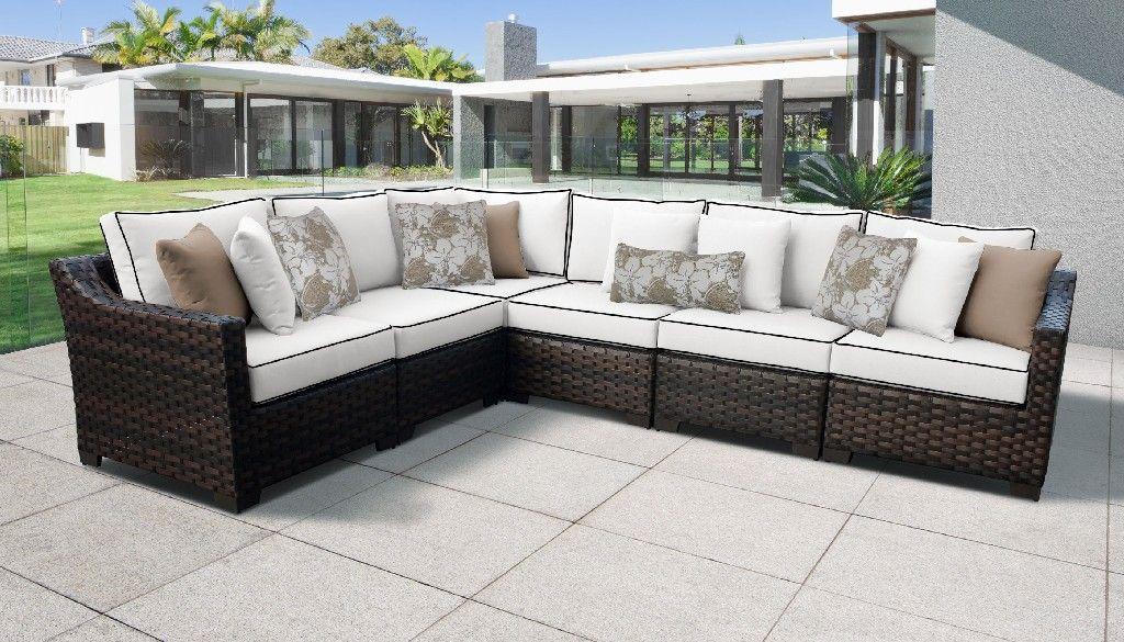 kathy ireland homes gardens river brook 6 piece outdoor wicker patio furniture set 06v in snow tk classics river 06v snow