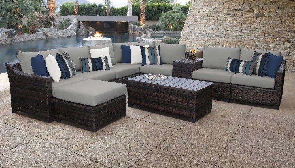 kathy ireland homes gardens river brook 10 piece outdoor wicker patio furniture set 10b in slate tk classics river 10b grey