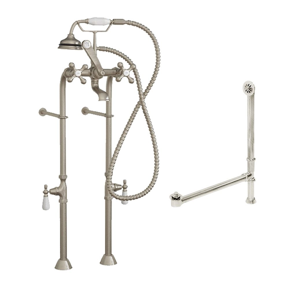 complete free standing plumbing package for clawfoot tub includes free standing supply lines faucet drain assembly brushed nickel cambridge