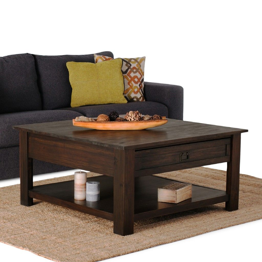 monroe solid acacia wood 38 inch wide square rustic coffee table in distressed charcoal brown simpli home axcmon 02