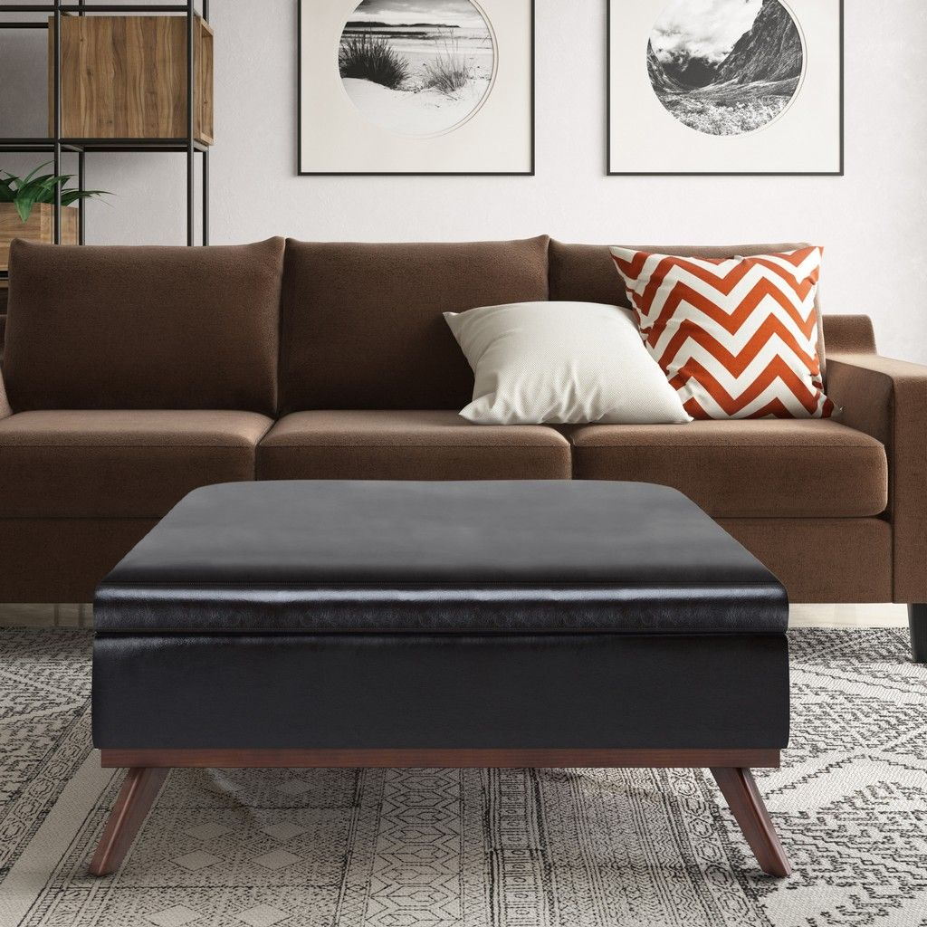 owen 36 inch wide mid century modern square coffee table storage ottoman in tanners brown faux leather simpli home axcot267m br