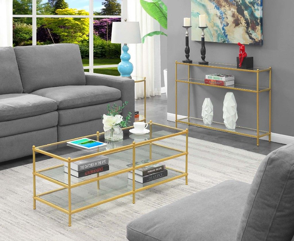 royal crest 3 tier coffee table in clear glass gold convenience concepts 134382glg