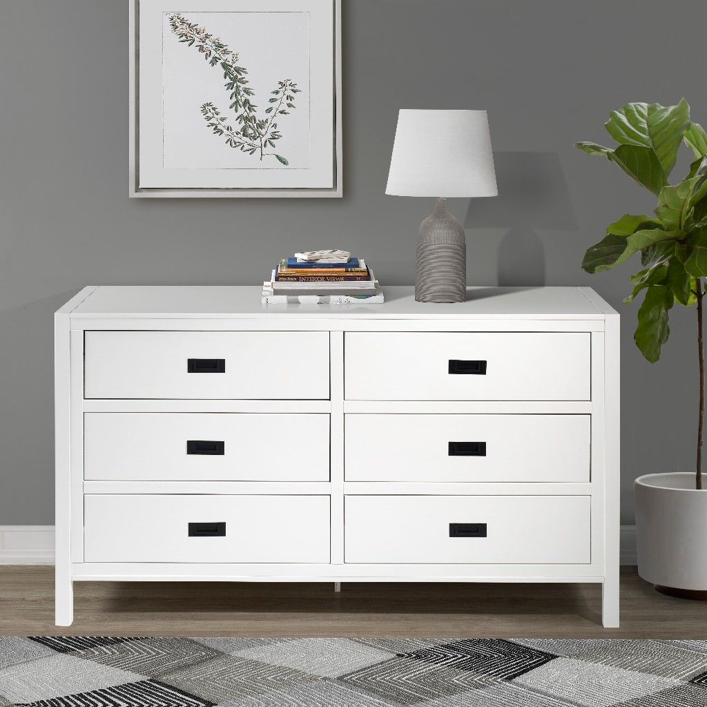 57 classic solid wood 6 drawer dresser in white walker edison br6dlyddrwh