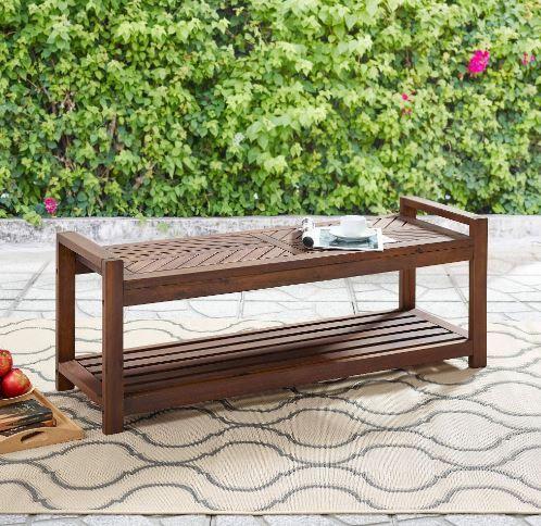 48 chevron acacia wood outdoor patio storage bench in dark brown walker edison owb48vindb