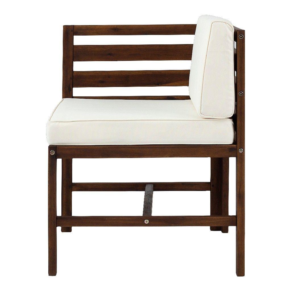 modular outdoor acacia l r chairs ottoman in dark brown walker edison owsan3pcdb