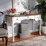 Baxton Studio Sophie Classic Traditional French Country White Brown Finished Large 3 Drawer Wood Console Table Wholesale Interiors 132051 White Console