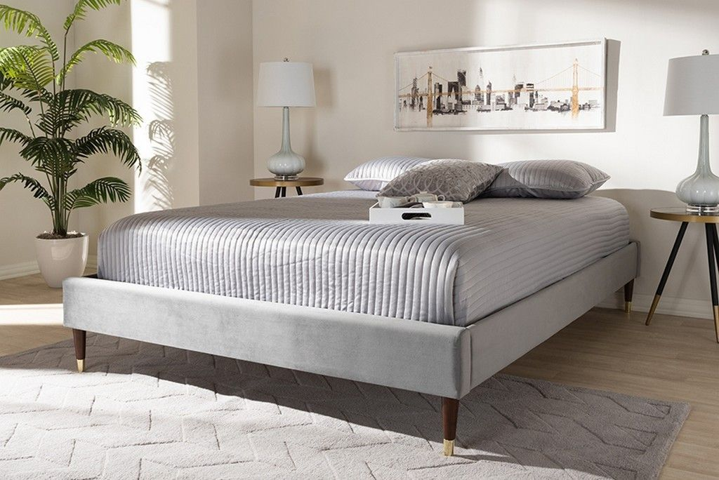 Baxton Studio Volden Glam Luxe Charcoal Velvet Fabric Upholstered Full Size Wood Platform Bed Frame W Gold Tone Leg Tips Bbt6598a1 Dark Grey Full