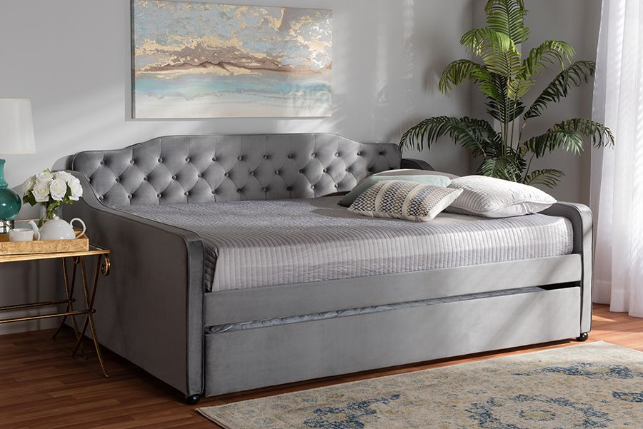 baxton studio freda transitional and contemporary grey velvet fabric upholstered and button tufted full size daybed with trundle wholesale interiors