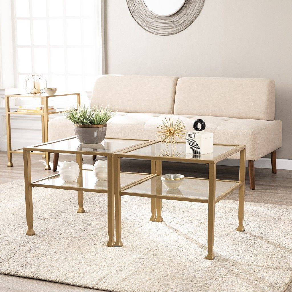 jaymes gold metal and glass bunching cocktail table southern enterprises ck5770