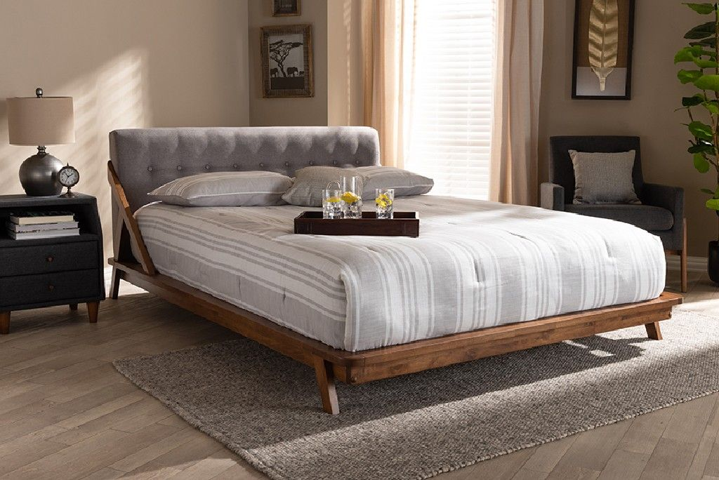 baxton studio sante mid century modern grey fabric upholstered wood queen size platform bed bbt6735 grey queen