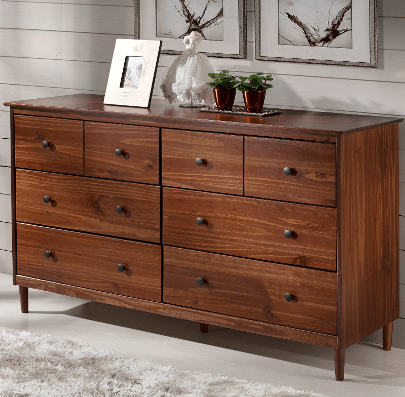 classic mid century modern 6 drawer solid wood dresser in walnut walker edison br6dddrwt