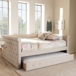 Baxton Studio Alena Modern Contemporary Light Beige Fabric Upholstered Queen Size Daybed W Trundle Cf8825 Light Beige Daybed Q T