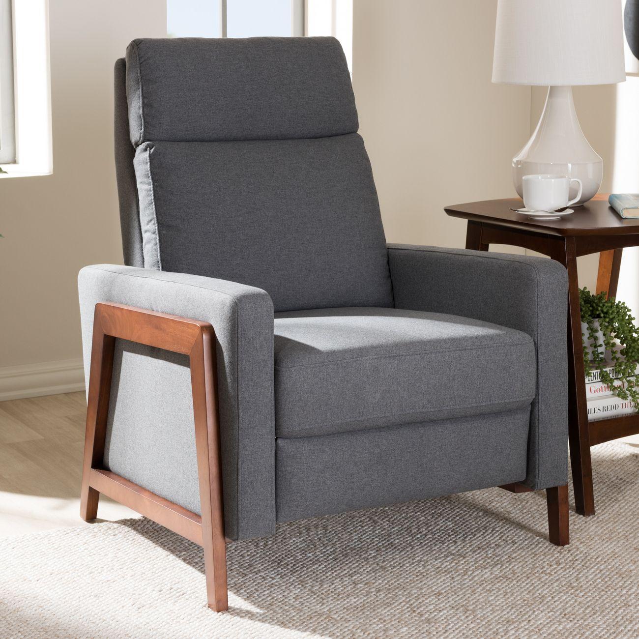 Baxton Studio Halstein Mid Century Modern Grey Fabric Upholstered Lounge Chair 1706 Gray