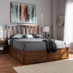 Baxton Studio Raurey Modern Contemporary Walnut Finished King Size Storage Platform Bed Mg5110 Walnut King