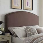 Cassie Curved Upholstered King Cal King Headboard In Bourbon Linen Crosley Cf90008 601bo