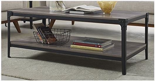 angle iron rustic wood coffee table in grey wash walker edison c46aictgw
