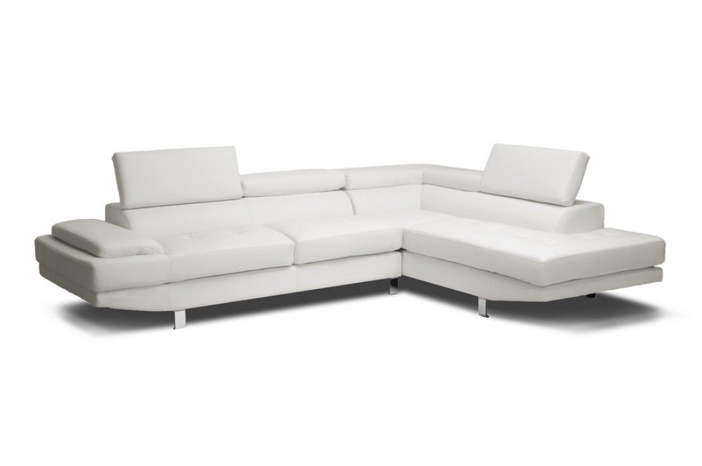 baxton studio selma white leather modern sectional sofa ids077p white rfc
