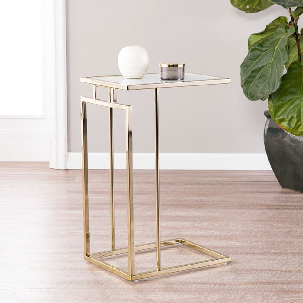 colbi glass topped c table in champagne w white faux marble glass holly martin oc9841