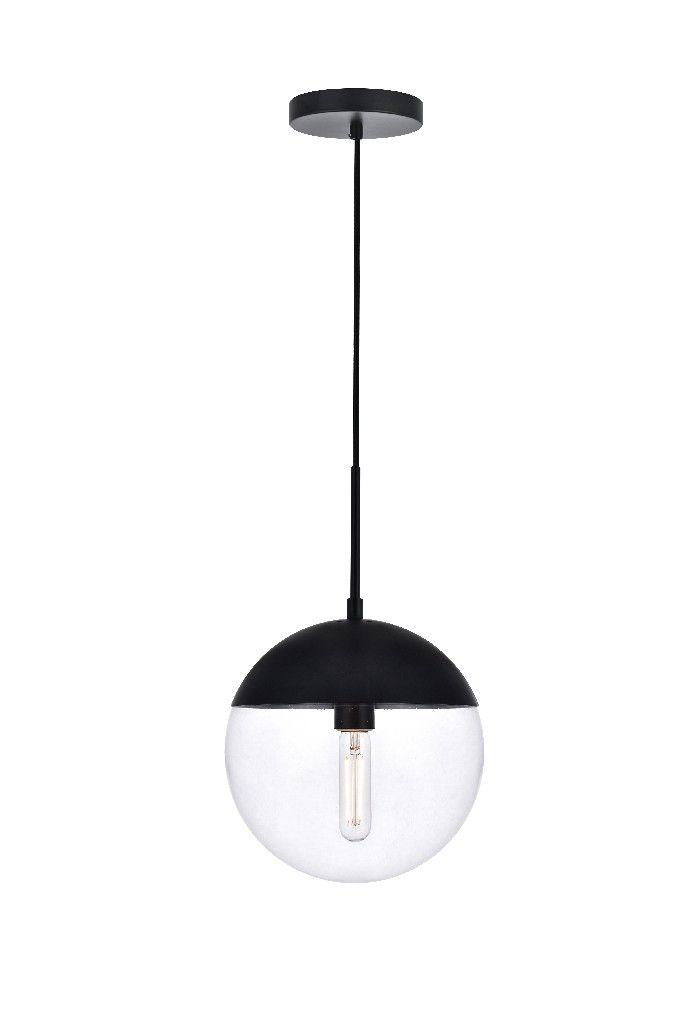 eclipse 1 light black pendant with clear glass elegant lighting ld6033bk