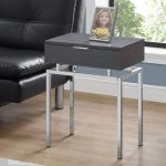 Accent Table 24 H Grey Chrome Metal Monarch Specialties I 3464