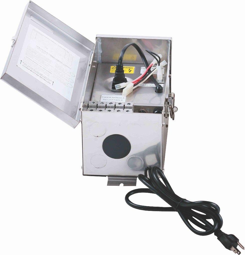 low voltage landscape transformer 300w 120v stainless steel input 120v output 0v 12v 13v 14v 15v etl listed timer photocell adaptable 5 years