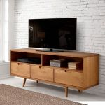58 3 Drawer Mid Century Modern Tv Stand In Caramel Walker Edison W58iv3dca