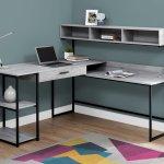 Computer Desk Grey Black Left Or Right Facing Corner Monarch Specialties I 7160