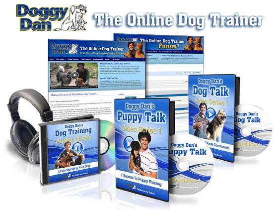 Graphic of the online dog trainer package as a video and audio series