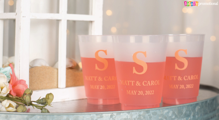 Coral Wedding Drinks and Cups